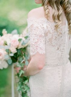 Off-the-shoulder lace half sleeve wedding gown: http://www.stylemepretty.com/new-york-weddings/garrison/2016/09/28/blush-ivy-hudson-valley-wedding/ Photography: Elena Wolfe - http://elenawolfe.com/ and Colleen Macmillan - http://www.colleenmacmillan.net/