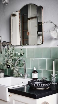 Green tile is trending in interior design. Here are 35 reasons why we can't get enough green tile. For more interior design trends and inspiration, visit domino. Home Design Decor, Küchen Design, House Design, Home Decor, Tile Design, Bath Design, Design Layouts, Design Trends, Bad Inspiration