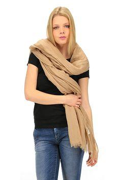 American Vintage - Sciarpe - Abbigliamento - Sciarpa in lino con frange sui bordi. - MOKA - € 45.00