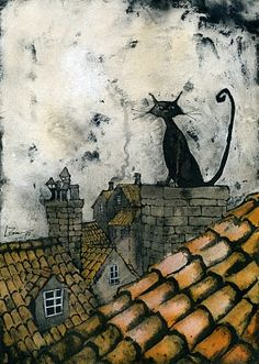 "Artwork By Leticia Zamora.  ""As the sun went down a pair of sharp eyes looked out of the chimney on the abandoned cottage."""