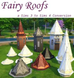 """leanderbelgraves: Fairy Roofsa Sims 3 to Sims 4 Conversion plus Recolors and different HightsDOWNLOAD at megaThanks to Sims 4 Studio, blender, gimp and TSRWresize them with """"9"""" or """"SHIFT 9"""" and they should fit on every octagonal toweradd fences if you want to use the smaller versionthey can be found in build mode-> Roof deco"""