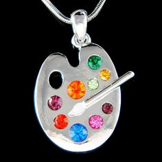 Swarovski Crystal Rainbow Artist Painter Paint Color Palette Enamel Paint White Brush Charm Necklace Jewelry Christmas Best Friend Gift New ~Ooooh this is big time want. Swarovski Crystal Necklace, Crystal Jewelry, Swarovski Crystals, Sea Glass Jewelry, Fine Jewelry, Trendy Jewelry, Gold Jewellery, Jewelery, Palette