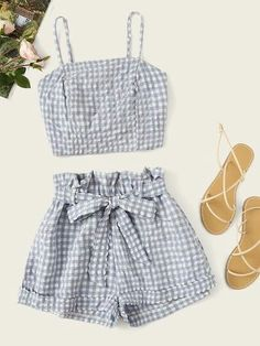 To find out about the Gingham Shirred Cami Top & Shorts at SHEIN, part of our latest Two-piece Outfits ready to shop online today! Older Women Fashion, Girls Fashion Clothes, Teen Fashion Outfits, Girl Fashion, Girl Outfits, Clothes For Women, Rock Outfits, Emo Outfits, Punk Fashion
