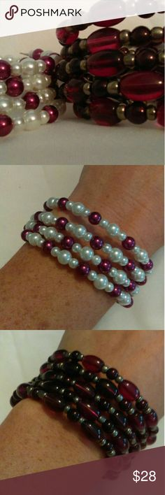 Handmade Memory Wire Bracelets- Set of Two Handmade memory wire bracelets, set of two. One is made with purple glass beads and gold seed beads. One is made with purple and glossy white glass pearls. Jewelry Bracelets