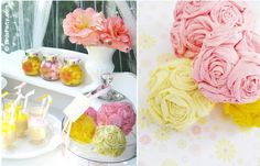 Blog My Little Party - Party Ideas and Inspiration: DIY: Paper Flowers More. Maybe do this with fabric for Christmas ornaments?