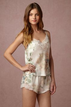 Ivory/sage Whispering Blooms Cami & Shorts Set | BHLDN