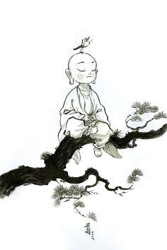 """早稻 on Twitter: """"万境随心转~… """" Buddha Kunst, Buddha Art, Art Sketches, Art Drawings, Illustrations, Illustration Art, Character Art, Character Design, Little Buddha"""