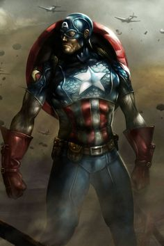 "Way cool Captain America. He should have looked like this in ""The Avengers"". Hawkeye needed some help as well Comic Book Heroes, Comic Book Characters, Marvel Characters, Comic Character, Comic Books, Comic Art, Everything, Marvel Comics, Marvel Heroes"
