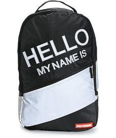 "Get noticed with a 3M reflective ""Hello My Name Is"" embroidery and stripes for eye catching style plus a padded tablet and Velour lined laptop compartment."