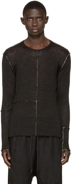 Isabel Benenato Black Contrast Seam Sweater