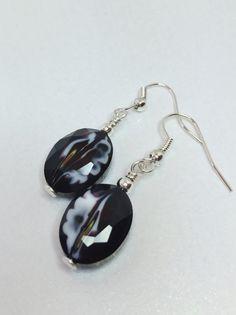 Black with White Swirl Drop Earrings Black by LynnsGemCreations