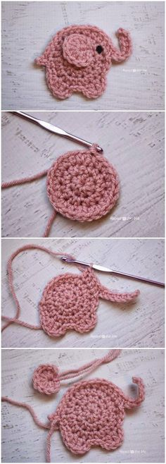 Super cute crochet elephant applique, it is very easy to learn how to create this cutie crochê Bohemian-Hochzeitsinpiration in Beerenfarben und Marsala Are you on the hunt for a Tiny Teddy Crochet Pattern? our collection is filled with the cutest ideas p Crochet Simple, Cute Crochet, Crochet Crafts, Crochet Projects, Baby Knitting Patterns, Crochet Patterns, Crochet Elephant Pattern Free, Knitting Ideas, Baby Patterns