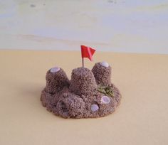 #Miniature #Beach #Sandcastles with Red and Yellow Flag by TinytownMiniatures