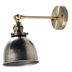 Jeteven Retro Vintage Industrial Steel Swing Arm Wall Sconce Light Lamp Shade for E27 Bulbs Silver -- Click on the image for additional details.