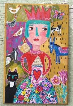 A personal favorite from my Etsy shop https://www.etsy.com/listing/536279353/mixed-media-folk-painting-on-wood