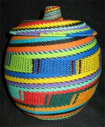 pot baskets from africa | African Zulu Telephone Wire Basket - Covered Pot - Knit Rainbow Bamboo Weaving, Basket Weaving, African Interior Design, Bountiful Baskets, Homemade Black, African Crafts, Africa Art, African Culture, Wire Baskets