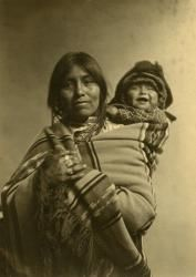 """Coming to the New Mexico History Museum in Santa Fe on May 18: """"Native American Portraits,"""" an exhibit of historical images by the likes of Edward S. Curtis and Karl Moon that show the changing (and often dispirting) attitudes toward tribal peoples. I love this image: Unidentified woman and child, Jemez Pueblo, N.M., ca. 1912. Photo by Jesse Nusbaum. Glass negative. Palace of the Governors Photo Archives 61712."""