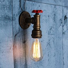 Vintage Wall Sconce Pipe Lamp, HESSION Industrial Rustic Steampunk Wall Lamp Loft Antique Edison Style Decor Lighting Fixture Copper - - Amazon.com