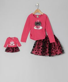 Take a look at this Fuchsia & Black Cupcake Tee Set & Doll Outfit - Toddler & Girls on zulily today!