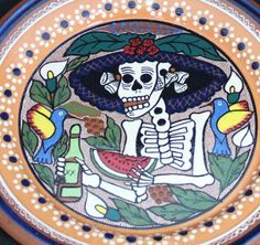 Day of the Dead, La Calavera Catrina Plate, Mexican Folk Art, Michoacan Mexico