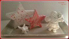 Beton- Weihnachtsdeko weiß-rot