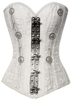 ★ Soulful White ★ I think I'm going steampunk with the witch and wolf.Brocade white steampunk corset silverbeads TS! Gothic Steampunk, Steampunk Clothing, Steampunk Fashion, Gothic Fashion, Look Fashion, Fashion Outfits, Victorian Gothic, Steampunk Skirt, Vintage Gothic