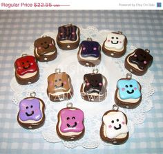 SALE PB Friends Polymer Clay Charms   Set of 10 by fauxsweet, $11.48