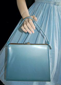 Vintage 50s Kelly Bag  // 50s Light Blue Handbag // Patent Leather Purse