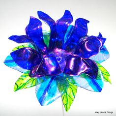 Upcycled  Blue Fantasy Flower Made of Plastic Water Bottles