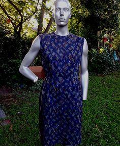 50s Dresses, Blue Dresses, Vintage Dresses, 50s Costume, Costumes, High Neck Dress, Slim, Zipper, Celebrities