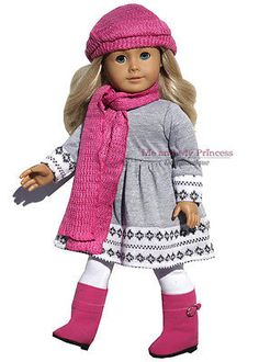 Scarf+Hat+Fair Isle Knit Dress+Boots+Leggin clothes fits American Girl Doll Only