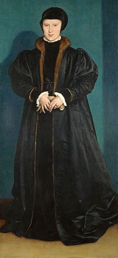 """Holbein painted this portrait of Christina of Denmark, the young widowed Duchess of Milan, for Henry VIII of England, who was considering her as a possible wife. Thomas Cromwell sent Holbein to Brussels, accompanied by Philip Hoby, to draw the duchess, and she sat for him for three hours. John Hutton, the English representative in Brussels, wrote of the result that """"Mr Haunce ... hathe shoid hym self to be the master of that siens [science], for it is very perffight"""". Henry was so delighted…"""