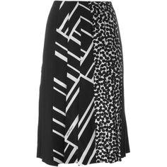 Salvatore Ferragamo Multi Print Pleated Skirt (15.026.240 IDR) ❤ liked on Polyvore featuring skirts, black, pleated a line skirt, a line skirt, patterned skirt, floral print a-line skirt and pleated skirt