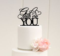 God Gave Me You Wedding Cake Topper Custom by ThePinkOwlDesigns