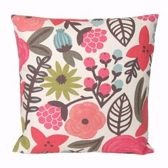 Designer Pillow Cover 16 x 16 Cushion Cover  by CoupleHome on Etsy, $25.00 (In love with that fabric designed by Rifle Paper Co. for Villa Nova!)