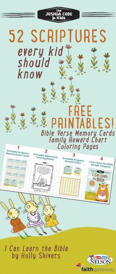 FREE Bible Memory Verse Printables Heres a free resource for Christian parents who want to help their kids get excited about memorizing Scripture! Pass it along to all the parents, friends & Sunday School teachers you know! Memory Verses For Kids, Bible Study For Kids, Bible Lessons For Kids, Kids Bible Activities, Preschool Bible Lessons, Bible Stories For Kids, Scripture For Teachers, Bible Verses About Children, Devotions For Kids