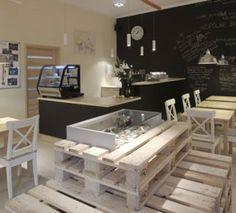 ciekawe wykorzystanie europalet w industrialnej kawiarni