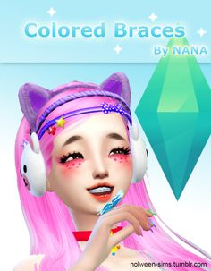 The Sims 4 | nolween-sims Colored Braces facial details