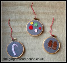 felt decorations - felt gingerbread people, felt candy cane and felt gum drops in embroidery hoops