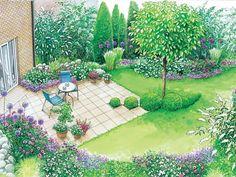 Terrasse Rasen Gartengestaltung