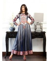 Navy Blue/Beige Chiffon Ankle Length Anarkali Party Dress