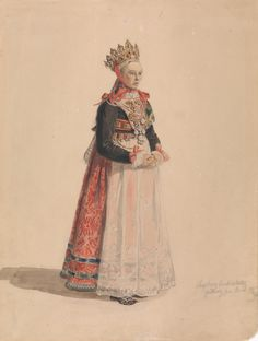 Wings of Whimsy: Adolph Tidemand - Bride from Hallingdal 1849 Norwegian Wedding, Bridal Crown, Printable Designs, Folk Costume, Love Pictures, Magazine Art, Public Art, Fashion History, Art Images