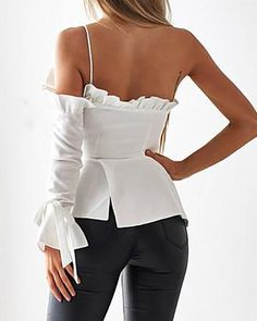 One Shoulder Ruffles Irregular Casual Blouse Blouse Styles, Blouse Designs, Mode Emo, Mode Lolita, Roll Up Sleeves, Mode Style, Look Fashion, Lolita Fashion, Fashion Clothes