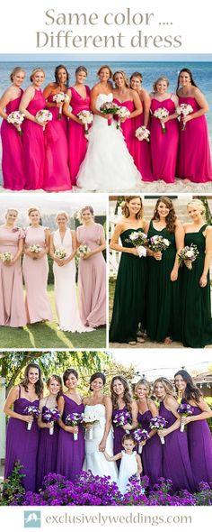 Same Color Different Dress Wedding Bridesmaid