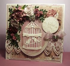 Stunning Shabby Floral Card...with lace, flowers & ribbon.