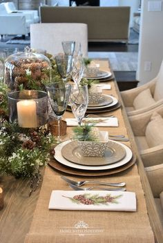 My Christmas Home Tour - Easy Woodland and Pine Cone Christmas Table Setting - Home with Holliday Woodland Christmas, Elegant Christmas, Country Christmas, Simple Christmas, All Things Christmas, Christmas Home, Christmas Quotes, Christmas Trees, Xmas