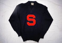 Preppy 1950s Vintage Wool Orange Block S Letterman Varsity Sweater