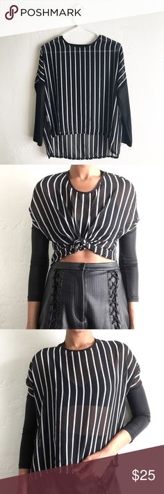 VERO MODA striped shirt Dope semi sheer black and white striped blouse by VERO MODA. The sleeves on this shirt are awesome! They're like a snug faux stretch leather. Looks great styled up to make it a crop top or just worn in its natural state. vero moda Tops Blouses