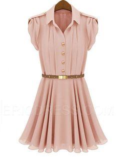 Ericdress Lapel Short Sleeve Falbala Hem Casual Dress Casual Dresses