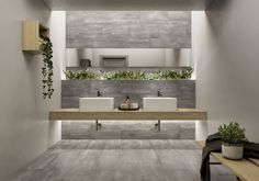 An ode to neutral earthy colors with a touch of vibrant greens from indoor plants. Check out our Nolita Bold collection in the link in our bio. Handmade Tile Backsplash, Ceramic Tiles, Bold Tile, Lighted Bathroom Mirror, House Design, Restroom Design, House Designs Exterior, Tile Stores, Flooring Store